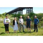 Sarah Meaker and John Darlington from the World Monument Fund (2nd and 3rd from left) on a site visit to Bennerley Viaduct earlier this year.