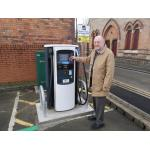 Councillor Michael Powell, Lead Member for Regeneration and Planning, at the new electric vehicle charging bay in the Gibb Street car park in Long Eaton.