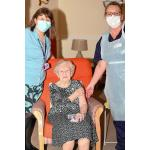 Ivy Dawson - a County Council care home resident - receives her Coronavirus vaccine injection