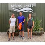 Paul Robinson (centre) with his swimming coach, Mel Berry (left) and Spring Lakes Water Park staff member Charlotte Day, when he dropped into the venue to say thank you the support he received during his training for his successful cross-Channel swim last