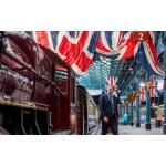 Union Jack bedecked railway platform
