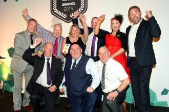 (l-r back) Jeff Counsell with my15 brand winners Jamie Hobson, Valerie Wright, Phil White of award sponsor Gallagher, team leader Leeann Shearer and Scott Quinnell, (front) Glyn Whaley, operations manager Aaron Irwin and Shaun Murphy