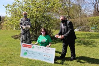 Birds Bakeries announce charity support for Treetops Hospice L-R: Lesley Bird, Chief Operating Officer, Birds Bakery; Stacey Smalley, Treetops Hospice Business Relationship Manager; Mike Holling, Sales and Marketing Director, Birds Bakery