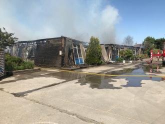 The scene at Harrington Junior School, Long Eaton courtesy of Derbyshire Fire & Rescue Service